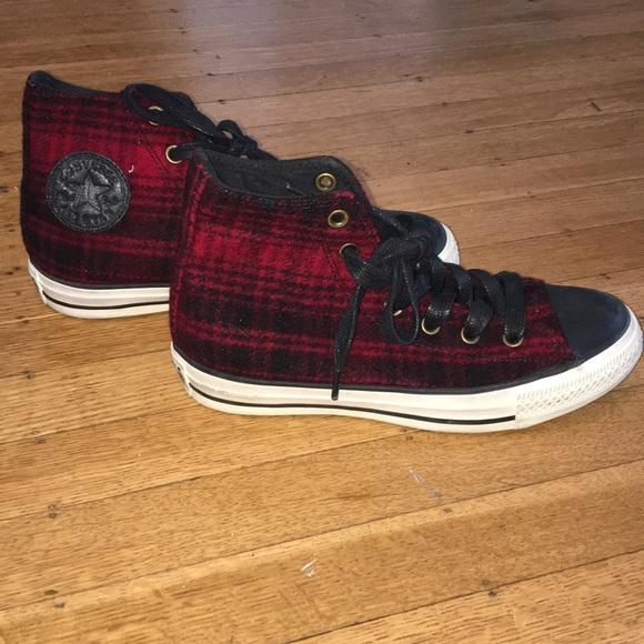 5cfa9cd2f969 Converse Shoes - Flannel Converse high tops